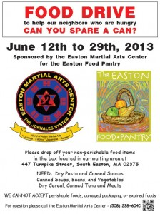 Easton Martial Arts Center will be collecting canned goods and dry goods throughout the month of June with all items to benefit the Easton Food Pantry.