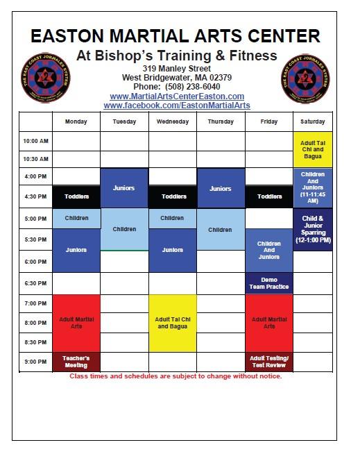 2014 Class Schedule